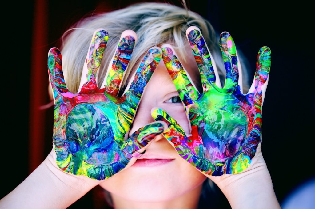 Boy Painted Hands background